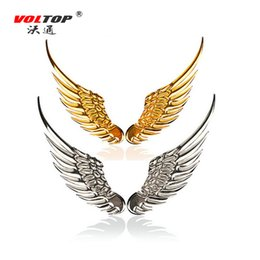 Wholesale Metal Roof Accessories - VOLTOP 3D Stereo Car Stickers Metal Eagle Angel Wings Auto Logo Motorcycle Sticker Car Styling Outside Decoration Accessories