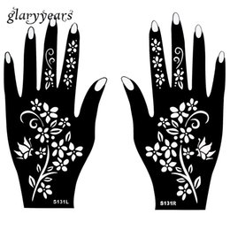 Wholesale Flower Designs For Tattoos - Wholesale-Hot 1 Pair Indian Henna Tattoo Stencil Flower Pattern Design Colored Henna Paste Drawing for Women Body Hands Art 20 * 11cm S131