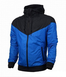 Wholesale Microfiber Jackets - New fashion long sleeve mens jacket coat winter sports running Outdoor windrunner zipper windbreaker mens hoodie plus size