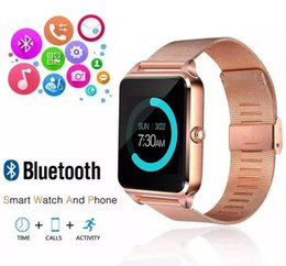 Wholesale German Stainless Steel - Bluetooth Smart Watch Phone Z60 Stainless Steel Support SIM TF Card Camera Fitness Tracker GT08 GT09 DZ09 A1 V8 Smartwatch for IOS Android