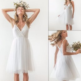 Wholesale Cheap Bridal Gowns Online - Simple Short Wedding Dresses 2017 White Chiffon Sexy V Neck Tulle Knee Length Bridal Gowns Summer Cheap Dress For Brides Online