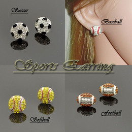 Wholesale Volleyball Style - 25 style Hot Selling European Sport Full Rhinestone Basketball Volleyball Rugby Softball Baseball Earrings Free DHL