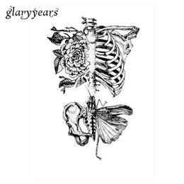 Wholesale Wholesale Temporary Tattoo Paper - Wholesale- 1 Sheet Temporary Inspired Body Tattoo Sticker KM-012 Flower Arm Art Sternum Bone Decal Beauty Tattoo Paste Paper Hallowmas Gift