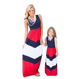 Wholesale Baby Mommy Dresses - Mommy Daughter Matching Dress Mother and Daughter Stripe Maxi Dresses Summer Mom and Baby Sleeveless Long Dress