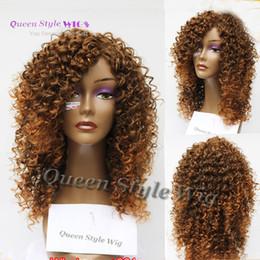 2019 mistura de cor de cabelo castanho preto Kanekalon sintético peruca de cabelo da fibra Beyonce preto misturado marrom cor peruca kinky onda Penteado Perucas Cheias para as mulheres negras mistura de cor de cabelo castanho preto barato