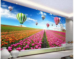 Wholesale Tulip Paintings Wall - 3d room wallpaper custom photo mural flowers of the sea are beautiful flowers and tulips painting 3d wall murals wallpaper for walls 3 d