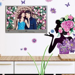 Wholesale Beautiful Package Design - 60*80cm Beautiful Woman Wall Stickers DIY Art Decal Removeable Wallpaper Mural Sticker for Television Walls Bedroom Liveing Room