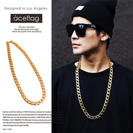 Wholesale Thick Asian Women - 18K quality thick gold necklace electroplating new Japanese tide men and women fashion hip hop hip hop necklace Cuba chain