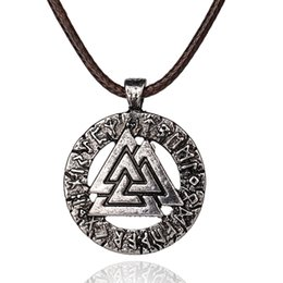 Wholesale Pagan Jewelry Wholesale - Wholesale-Slavic Norway Valknut pagan amulet pendant Men necklace Scandinavian Viking jewelry Odin 's Symbol of Norse Viking Warrior