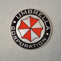 Wholesale Round Metal Stickers - Metal 3D Umbrella Corporation Sticker Resident evil Round Rectangle Car Aluminium Emblem sticker Factory Direct free shipping 10pcs lot