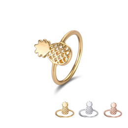 Wholesale Lovely Fruits - Wholesale New Fashion Pineapple Rings Jewelry Simple Funny Outline Fruit Rings Lovely Ananas Rings for Women Party Gift EFR066