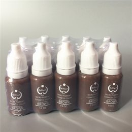 Wholesale Color Brown Tattoo Ink - 2pcs biotouch tattoo ink set pigments permanent makeup 15ml brown colors cosmetic color tattoo ink for eyebrow eyeliner