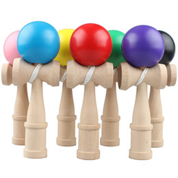 Wholesale Wood Toy Swords - DHL Big size 18*6cm Kendama Ball Japanese Traditional Wood Game Toy Education Gift Children toys Skill ball Sword ball JC318