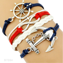 Wholesale Love Anchor Infinity Charm - (10 Pieces Lot) High Quality Infinity Love Faith Compass Anchor Charm Suede Leather Wrap Bracelets For Women Men Gifts Jewelry Drop Shipping