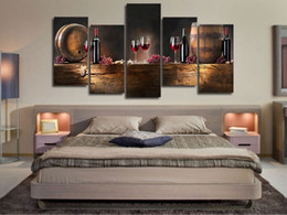 Wholesale Painting Large Canvases - 5pcs set Large HD Printed Canvas Print Painting Casks Wine Home Decoration Wall Pictures for Living Room Wall Art on Canvas