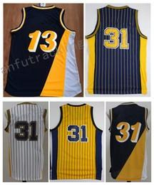 Wholesale Flash 13 - Men Basketball Retro Pacerz #13 GEORGE #31 MILLER White Deep blue Yellow Jerseys Short
