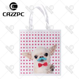 Wholesale Gift Bags Ties - Wholesale- Pink Dot cute Tiny Chihuahua Moustache Red Bow Tie Print Custom individual lightweight polyester fabric Reusable Bag gift