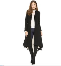 Wholesale Womens Cotton Overcoats - Womens Wool Blends Overcoats Black Slim Fit Trench Womens Winter Coats Long Section Jacket Parka Fashion Jackets For Women