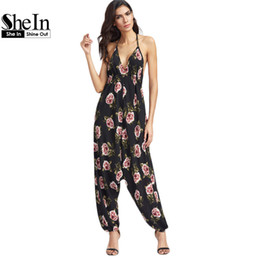 Wholesale Womens Wholesale Harem Pant - Wholesale- SheIn Womens Jumpsuit Long Pants Black Floral Print Halter Neck Harem Jumpsuit V Neck Sleeveless Sexy Jumpsuit