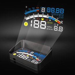 "Wholesale Car Head Up - 2017 new 5.5"" 4E Car HUD Head Up Display Projector Digital Light Self-adaptive Speeding Warning Fuel OBD II and EOBD Speedometers"