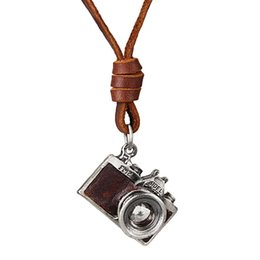 """Wholesale Leather Couple Necklaces - Retro Camera Pendant Necklace Literary And Artistic Style 30"""" Genuine Leather Chain Couple Necklace Black Brown Statement Necklaces"""
