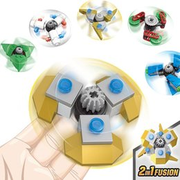 Wholesale Kazi Blocks - KAZI 6PCS set Finger spinner Model Building Blocks Education Toys Fidget Spinner Christmas gifts Anti Stress Toys