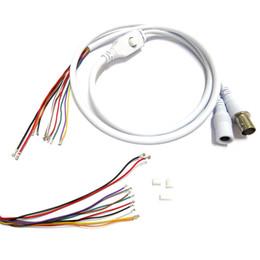 Wholesale Cctv Board Osd - 2pcs 80cm BNC Video DC12V Power OSD Control Pigtail Cable Analog CCTV Camera Module Board Menu Button end cable, black, white