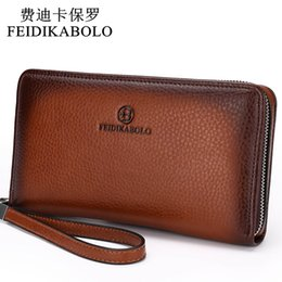 Wholesale Zipper Black Leather Clutches Bag - 2017 Luxury Male Leather Purse Men's Clutch Wallets Handy Bags Business Carteras Mujer Wallets Men Black Brown Dollar Price