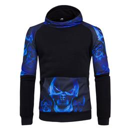 Wholesale Skull Head Sweater - Wholesale 2018 new style street movement skull sleeve head side 3D stamp Sweater Hoodie Hoody