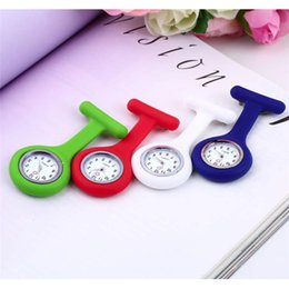 Wholesale Crown Pocket Watch - Nurse Watch Brooch Quartz Pocket Watches Silicone Watchband With Pin Waterproof Stainless Steel Dial Embedded Screw Down Crown