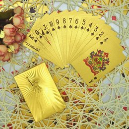 Wholesale Perfect Game - Perfect Gift Waterproof Playing Cards New Luxury Statue of Liberty 24K Gold Foil Plated Poker Games Birthday Novelty Pre Christmas Gifts