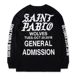 Wholesale Best Long Shirt Fashion - 2017 HipHop new Best version Justin Bieber Fear of God Fog long sleeve tee shirt SAINT PABLO gothic font printed black white