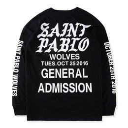 Wholesale Men Gothic Shirt - 2017 HipHop new Best version Justin Bieber Fear of God Fog long sleeve tee shirt SAINT PABLO gothic font printed black white