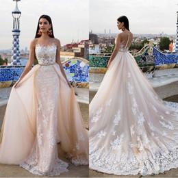 Wholesale Champange Gold - Modern Milla Nova Bridal 2017 Wedding Dresses Champange Lace Beaded Sheer Neck Court Train Detachable Overskirt Gowns Country Garden