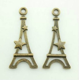 Wholesale Bronze Cross Pendants - 100pcs 13x28mm Flat Eiffel Tower Charm pendant Antique bronze Lovely charms For diy necklace Jewelry Making findings