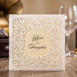Wholesale Elegant Floral Cut Wedding Invitations - Wholesale-free envelop and free seal Elegant Floral Embossed laser Cut Invitation for party wedding engagement CW6080