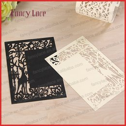 Wholesale invitation wedding card design - 2017Diy Laser Cut Deer Design Christmas Greeting Card Pearl Paper Wedding Invitation Cards Creative Fancy Menu Cards ,20Pcs