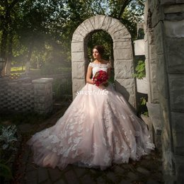 Wholesale Lace Long Sleeve Weding Dress - Blush Pink Lace Off-Shoulder Weding Dresses 2017 Garden Country Long Tulle A Line African Bridal Wedding Gowns With Appliques Custom Made
