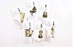 Wholesale music stationery gifts - Cute Kawaii Golden Metal Music Bookmarks Piano Guitar Trumpet Designs Book marks Korean Stationery Gifts Free shipping