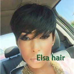 Wholesale Very Cheap Peruvian Hair - Cheap Lace Front Wigs Straight Human Hair Wigs brazilian Best Hair none Lace guleless full lace very short Hair wigs for Black Women