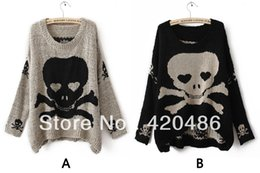 Wholesale Skull Jumpers - Wholesale-New Fashion Womens Ladies Punk Asymmetric Skull Batwing Knit Pullover Jumper Loose Sweater Knitw Free Shipping