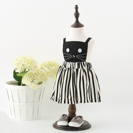 Wholesale Stripe Dress Black - Retail Girls Cartoon Dresses Summer New Cat Print Black Beige Stripe Overalls Dresses Slip Dress Children Clothing 2-7T Q101