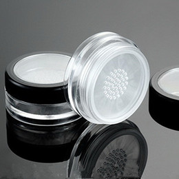 Wholesale Glass Powder Container - 10pcs lot 10g Black Clear Cap Loose Powder Compact With The Grid & Puff PP Powder Puff Jar Packing Container Powdery Cake Box