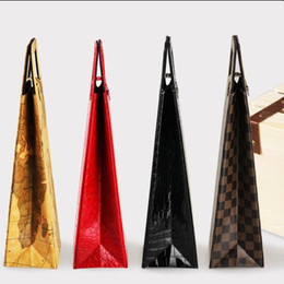 Wholesale Leather Bag Handles Wholesale - Folding Leather Box Creative Red Wine Bag Single With Handle Gift Storage Packaging Boxes For Portable Colourful 13jxa C R