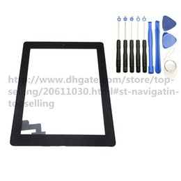 Wholesale Ipad Adhesive Black - 50PCS OEM Quality for iPad 2 iPad 3 and iPad 4 Touch Screen Glass Panel Digitizer with Buttons Adhesive Assembly with Tools Black and White