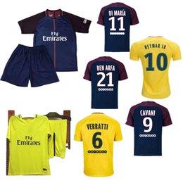 52b9a5add NEYMAR JR 10 CAVANI DI MARIA VERRATTI Shirt Home blue Away yellow 17 18  Soccer Jerseys Custom Football Uniforms youth Kit shirt