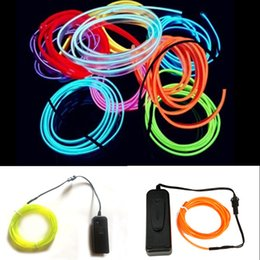 Wholesale Led Glow Clothes - Wholesale-2m 3m 5M Waterproof Battery Powered Led String Flexible Neon Light Glow EL Wire Rope Tape Cable Shoes Clothing Car wedding