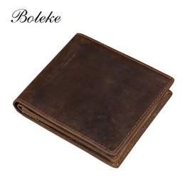 Wholesale Vintage Horse Photo - Wholesale- Crazy Horse Leather Men Wallet Brand Cowhide Genuine Leather Zipper Coin Purse Card Holder Short Bifold Carteira Masculina 2802