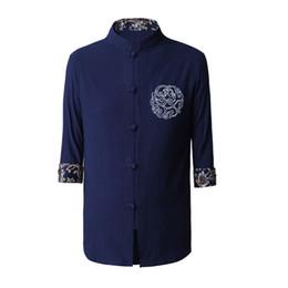 Camisa de china, tang online-Azul marino de los hombres de algodón Kung Fu camisa de estilo chino manga corta Tang ropa talla S M L XL XXL XXXL hombre Camisa