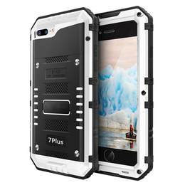 Wholesale Metal Alloy Armor - IP68 Luxury doom armor Dirt Shock Waterproof Metal Aluminum alloy phone case For iphone 5 SE 5C 5S 6 6S 7 8 Plus case +Tempered glass